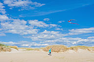 Denmark, Romo, Boy flying kite at North Sea - MJF000230