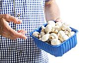 Mature man holding plastic box with mushrooms, close up - MAEF006867