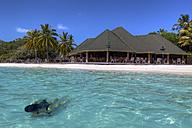 Asia, Maldives, Young woman swimming on Paradise Island - AM000579