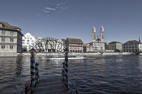 Switzerland, Zurich, View of pier of Hotel Storchen - JHEF000021
