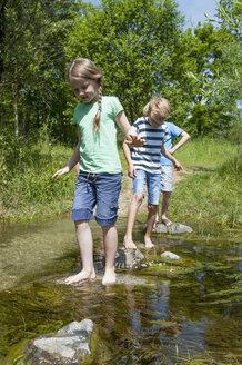 Germany, Bavaria, Munich, Friends walking in creek - NH001385
