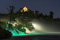 Switzerland, Schaffhausen, View of Rhine Falls with Laufen Castle at night - ELF000194