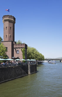 Germany, North Rhine Westphalia, Cologne, View of Malakoff Tower and Museum at Rhine River - GW002265
