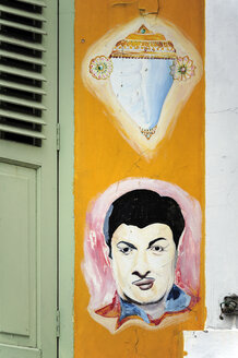 Asia, Singapore, Singapore, Little India, colourful painting on a shop house in the Indian district - MIZ000433
