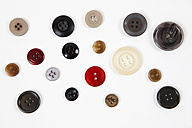 Varieties of button on white background, close up - SKF001415