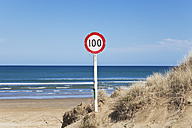 New Zealand, View of Warning and Information Sign at Ninety Mile Beach - GW002326