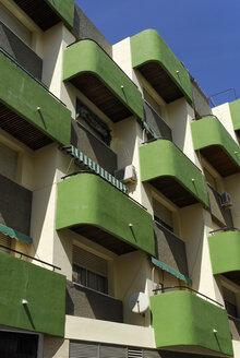 Spain, Andalucia, Huelva, Costa de la Luz, green balconies in the city centre of Huelva - MIZ000413