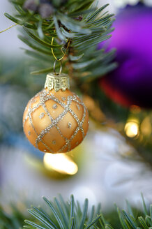 Christmas bauble hanging on tree, close up - LB000109