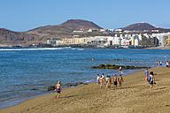 Spain, Las Palmas,People at beach of Playa de las Canteras - MAB000136