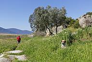 Turkey, Mature woman hiking at Latmus Mountains near Lake Bafa - SIE004229
