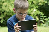 Germany, Rhineland Palatinate, Kaiserslautern, Boy using digital tablet in garden - LV000162
