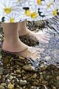 Germany, Bavaria, Landshut, Girl standing in water, close up - SAR000063