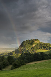 Germany, Baden Wuerttemberg, Constance, View of Hegau landscape with rainbow - ELF000304