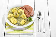 Green cabbage with sausage and potatoes in plate, close up - MAEF007032