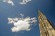Germany, Baden-Wuerttemberg, Ulm, Ulmer Minster church and sky - WGF000051