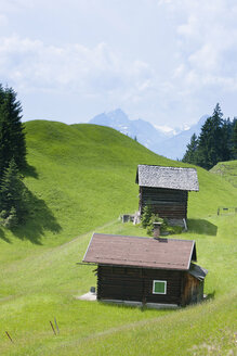 Austria, View of mountains and huts at Montafon - FLF000341