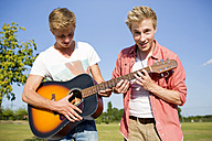 Germany, Two friends playing guitar in park - GDF000162