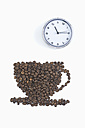 Coffee beans in shape of coffee cup with clock on white background, coffee break - ASF005075