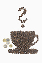 Coffee beans in shape of coffee cup with tip, euro coins, interrogation mark, on white background - ASF005077