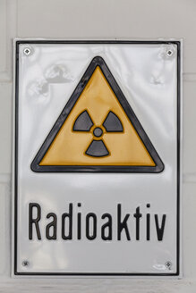 Germany, Baden Wuerttemberg, Laupheim, Sign of radioactive - HAF000200
