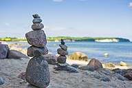 Germany, Mecklenburg-Vorpommern, View of balanced rocks at beach - MJF000346