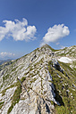 Germany, Bavaria, View of Ridge walk with steel cable protection to summit of Ammergauer Hochplatte - FO005151