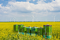 Germany, Schleswig-Holstein, View of stacked boxes in field with wind turbine in background - MJF000333