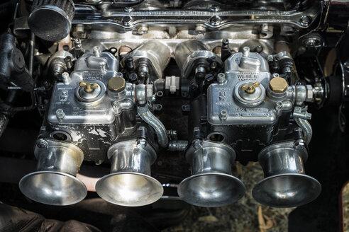 Germany, Baden Wuerttemberg, Weber twin carburetor of car engine - EL000425