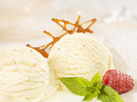 Dessertplate with ice cream, close up - CHF000057