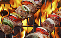 Germany, Freiburg, Skewers on grill, close up - DRF000108