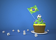 Brazilian cupcake, flag and footballs on blue background - ALF000099