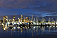Canada, Vancouver, Marina with ships and skyline at night - FOF005217