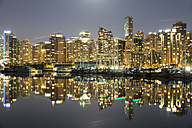 Canada, Vancouver, Marina with ships and skyline at night - FOF005233