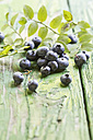 Blueberries on green table, close up - STB000007