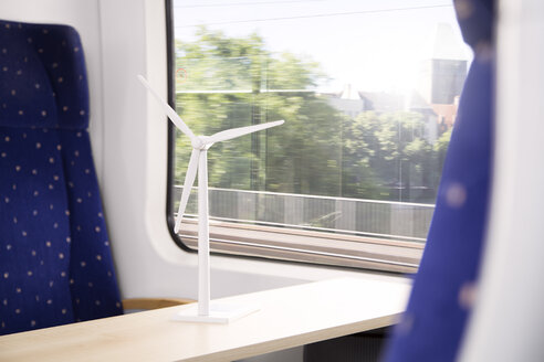 Germany, Brandenburg, Model of wind turbine in  train - KFF000221
