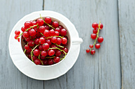 Cup of red currants on wooden table, close up - ODF000360
