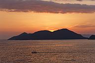 Turkey, Mugla, Fethiye, Island at sunset at Lycian coast - SIEF004318