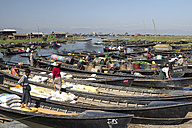 Myanmar, Lake Inle, Large group of boats with goods - DR000175