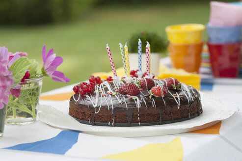Birthday cake on garden table - NHF001426