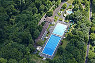 Germany, North Rhine-Westphalia, View of an outdoor pool above Koenigswinter, aerial photo - CS019945