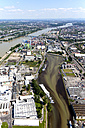 Germany, Rhineland-Palatinate, High water of River Rhine at Mainz Harbor, aerial photo - CS019979