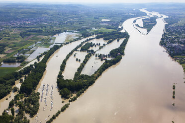 Germany, Hesse, Eltville, Flooding of River Rhine Island Koenigskling Aue, aerial photo - CSF019980