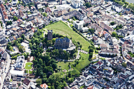 Germany, Rhineland-Palatinate, Bingen, View of Klopp Castle, aerial photo - CS019982