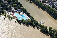Germany, Rhineland-Palatinate, High water of River Rhine at Koblenz Oberwerth, aerial photo - CS019994