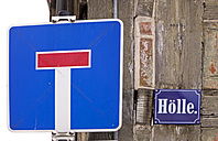 Germany, Saxony-Anhalt, Quedlinburg, dead-end street named 'hell' - ALEF000068