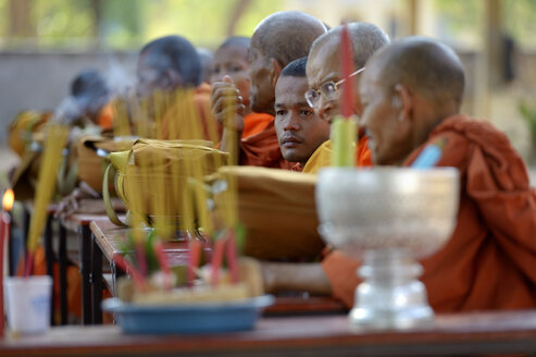 Cambodia, Takeo Province, Lompong, Buddhistic monks during New Year's festival - FLK000118