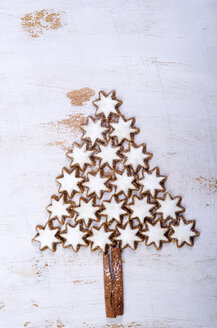 Star-shaped cinnemon cookies forming a fir tree - ODF000516