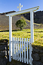 Iceland, Region Sudurland, closed door and a single tree - STSF000160