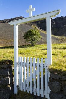Iceland, Region Sudurland, closed door and a single tree - STSF000160