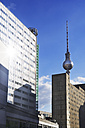 Germany, Berlin, Berlin-Mitte, publishing house Berliner Verlag, industrialized apartment block and TV tower - ALEF000081